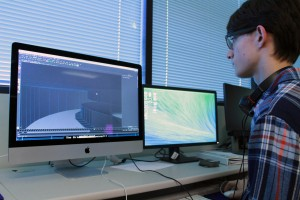 Student working on 3D animation project