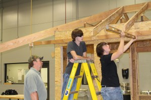 Students working on framing
