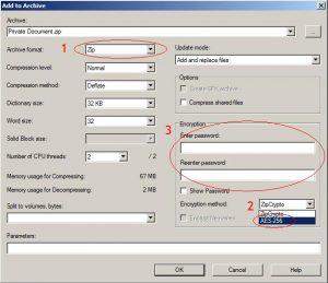 7-Zip archive settings dialog