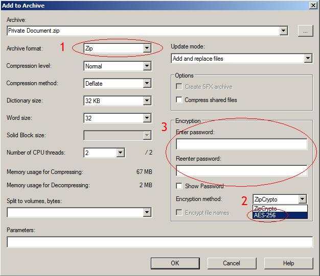 7-Zip archive settings dialog